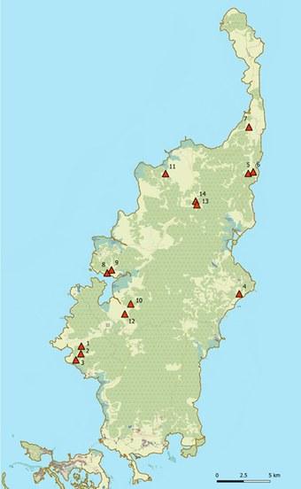 Karte Babeldaobs mit Lage der Fundorte