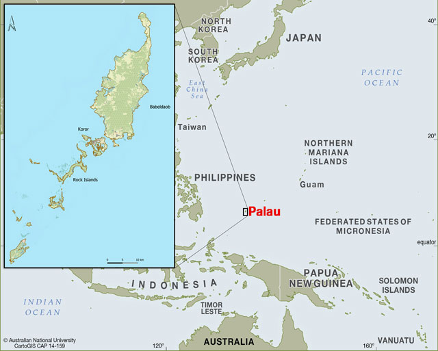 Map with the location of Palau