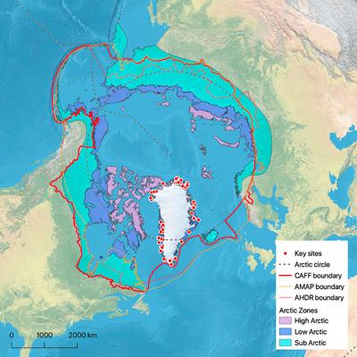 Übersichtskarte des Untersuchungsgebiets. Karte: Mirco Brunner. Daten: Natural Earth Data (naturalearthdata.com), CAFF/ABDS GeoNetwork catalogue (geo.abds.is), CARD 2.0 (canadianarchaeology.ca).