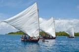 02_Outrigger canoes off Ifelik, Micronesia