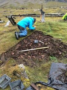 Small midden excavation near a mining settlement on Spitsbergen. Cattle bones were found mainly