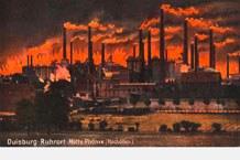 Postcard of the blast furnaces of the Phönix ironworks in Duisburg-Ruhrort